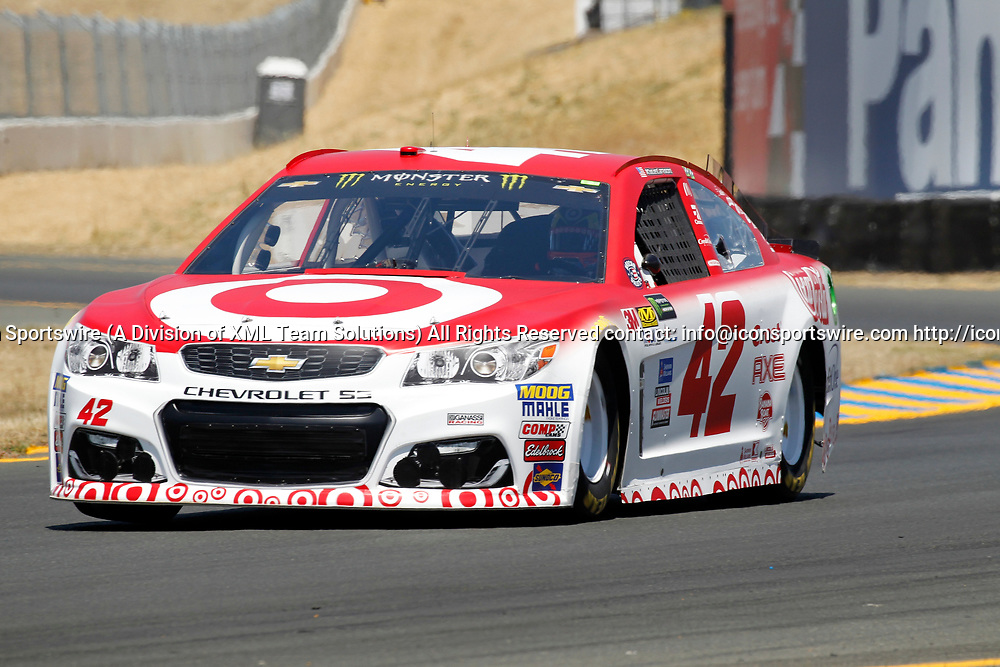 SONOMA, CA - JUNE 24: Kyle Larson, in the #42 Target Chevrolet takes the pole today for the Toyota/Save Mart 350 on June 24, 2017 at Sonoma Raceway in Sonoma, CA. (Photo by Larry Placido/Icon Sportswire)