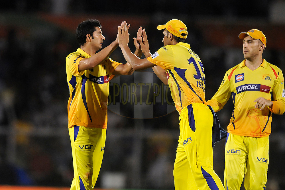Mohit Sharma of The Chennai Superkings celebrates the wicket of Rohit Sharma captain of the Mumbai Indians during the eliminator match of the Pepsi Indian Premier League Season 2014 between the Chennai Superkings and the Mumbai Indians held at the Brabourne Stadium, Mumbai, India on the 28th May  2014<br /> <br /> Photo by Pal PIllai / IPL / SPORTZPICS<br /> <br /> <br /> <br /> Image use subject to terms and conditions which can be found here:  http://sportzpics.photoshelter.com/gallery/Pepsi-IPL-Image-terms-and-conditions/G00004VW1IVJ.gB0/C0000TScjhBM6ikg
