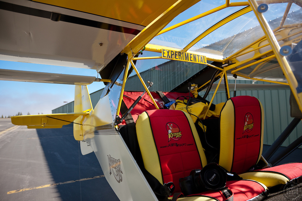 """Experimental Kitfox Amphibious Seaplane"" - This amphibious seaplane was photographed at the Truckee Airport. One of Scott Thompson's cameras can be seen in the seat, shortly before takeoff."