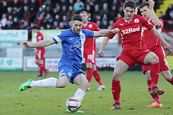 Peterborough United's Conor Washington in action with Crawley Town's Joe Walsh - Photo mandatory by-line: Joe Dent/JMP - Tel: Mobile: 07966 386802 01/03/2014 - SPORT - FOOTBALL - Crawley - Broadfield Stadium - Crawley Town v Peterborough United - Sky Bet League One