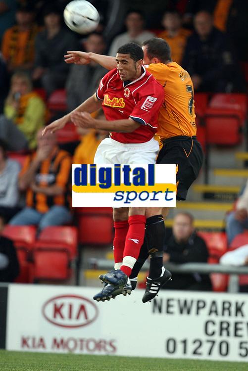 Photo: Rich Eaton.<br /> <br /> Crewe Alexandra v Hull City. Carling Cup. 15/08/2007. Crewe's Danny Woodards (l) outjumps Hull's Stuart Elliott.