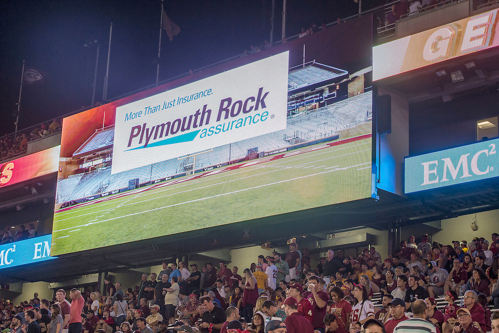 September 18, 2015, Chestnut Hill, MA:<br /> Corporate signage during a football game between Boston College and Florida State University at Alumni Stadium in Chestnut Hill, Massachusetts Friday, September 18, 2015.<br /> (Photo by Billie Weiss/Fenway Sports Management)