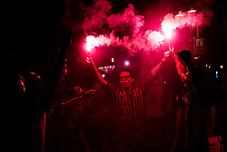 May 27, 2017 - Fans of the FC Barcelona dance under red flares as they celebrate the 29th 'Copa del Rey' title at the Canaletes fountain in the Ramblas, the traditional spot to celebrate the club's trophies, after beating Alabes 3:1 in the Final. (Credit Image: © Matthias Oesterle via ZUMA Wire)