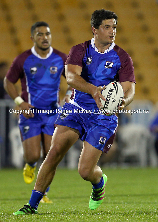 Dylan Moses of the Falcons looks to pass at the NZRL national premiership match between Akarana Falcons vs Counties Manukau Stingrays, at Mt Smart stadium, Auckland, 16 September 2016. Copyright Image: Renee McKay / www.photosport.nz