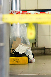 © Licensed to London News Pictures. 02/09/2019. London, UK. Police equipment is seen inside Elephant and Castle station after two men were found seriously injured following a stabbing last night. A murder investigation has been launched following the death of one of the victims.Photo credit: George Cracknell Wright/LNP