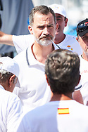 King Felipe VI of Spain on board of Yacht 'AIFOS' And Crew Before Competing during the 36th Copa Del Rey Mapfre Sailing Cup on July 32, 2017 in Palma, Spain