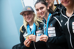Janja Garnbret and Mia Krampl during PZS press conference after IFSC Climbing World Championships in Hachioji (JPN) 2019, on August 23, 2019 at Ministry of Education, Science and Sport, Ljubljana, Slovenia. Photo by Grega Valancic / Sportida