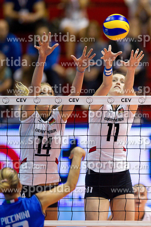 01.10.2011, Hala Pionir, Belgrad, SRB, Europameisterschaft Volleyball Frauen, Halbfinale, Deutschland (GER) vs. Italien (ITA), im Bild Francesca Piccinini (#12 ITA) - Margareta Kozuch (#14 GER / Sopot POL), Christiane Fürst / Fuerst (#11 GER / Istanbul TUR) // during the 2011 CEV European Championship, Quarterfinal at Hala Pionir, Belgrade, SRB, Germany vs Italy, 2011-10-01. EXPA Pictures © 2011, PhotoCredit: EXPA/ nph/  Kurth       ****** out of GER / CRO  / BEL ******