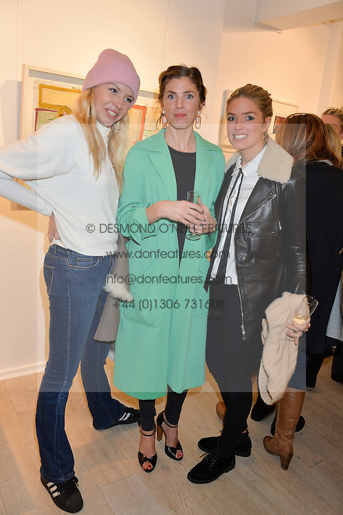 Left to right, sisters OCTAVIA ANSTRUTHER-GOUGH-CALTHORPE, GEORGIANA ANSTRUTHER and ISABELLA BRANSON at a private view entitled Stop Making Sense featuring work by Georgiana Anstruther and Carol Corell held at Lacey Contemporary, 8 Clarendon Cross, London on 9th March 2016.