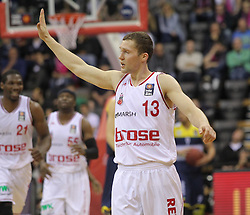 12.04.2015, Brose Arena, Bamberg, GER, Beko Basketball BL, Brose Baskets Bamberg vs EWE Baskets Oldenburg, Top Four 2015, Finale, im Bild Janis Strelnieks ( brose baskets Bamberg ) // during the Beko Basketball Bundes league TOP FOUR 2015 final match between Brose Baskets Bamberg and EWE Baskets Oldenburg at the Brose Arena in Bamberg, Germany on 2015/04/12. EXPA Pictures © 2015, PhotoCredit: EXPA/ Eibner-Pressefoto/ Langer<br /> <br /> *****ATTENTION - OUT of GER*****