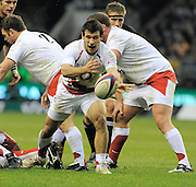 Twickenham, GREAT BRITAIN,  Danny CARE, passes the ball, during the Investic Challenge, England vs New Zealand, Autumn International at Twickenham Stadium, Surrey on Sat 29.11.2008 [Photo, Peter Spurrier/Intersport-images]