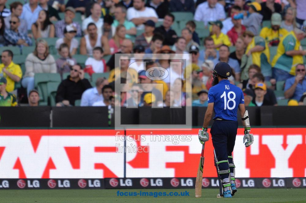 Moeen Ali leaves after been dismissed during the 2015 ICC Cricket World Cup match at Melbourne Cricket Ground, Melbourne<br /> Picture by Frank Khamees/Focus Images Ltd +61 431 119 134<br /> 14/02/2015