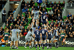 Victor Vito (HUR) wins the lineout.Melbourne Rebels v The Hurricanes.Rugby Union - 2011 Super Rugby.AAMI Park, Melbourne VIC Australia.Friday, 25 March 2011.© Sport the library / Jeff Crow
