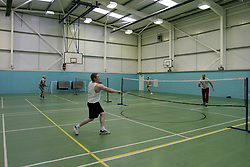 UK ENGLAND NOTTINGHAM 14DEC04 - Unidentified inmates play a game of Badminton at HMP Lowdham Grange in Nottinghamshire. This newly-built prison is entirely run and controlled by private company Premier-Serco on contract from the Home Office since 1998. The facility holds over 500 Category-B and C inmates with an minimum sentence of 4 years.<br /> <br /> jre/Photo by Jiri Rezac<br /> <br /> &copy; Jiri Rezac 2004<br /> <br /> Contact: +44 (0) 7050 110 417<br /> Mobile:  +44 (0) 7801 337 683<br /> Office:  +44 (0) 20 8968 9635<br /> <br /> Email:   jiri@jirirezac.com<br /> Web:     www.jirirezac.com<br /> <br /> &copy; All images Jiri Rezac 2004 - All rights reserved.