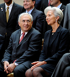 File Photo - IMF Managing Director Dominique Strauss-Kahn and French Finance Minister Christine Lagarde during the IMF-World Bank spring meeting in Washington, DC, USA, on Saturday, April 16, 2011. At the top of the agenda for the G-20 and the IMF is the issue of global imbalances, against which U.S.-China relations have long been measured. The European Council announced Tuesday that Lagarde, the current head of the International Monetary Fund, had been chosen to succeed Mario Draghi as president of the European Central Bank,, whose eight-year term ends in October. Photo by Olivier Douliery/ABACAPRESS.COM