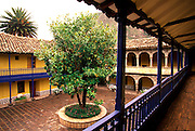 PERU, HIGHLANDS, CUZCO AREA in the Sacred Valley of the Incas; the Colonial Hacienda at Yucay, now a hotel with a beautiful courtyard