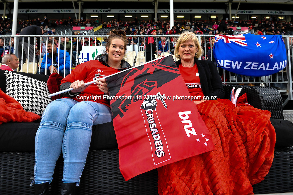 The best seat in the house winners in the Super Rugby match, Crusaders v Rebels at AMI Stadium, Christchurch, New Zealand 13 February 2015. Photo:John Davidson/www.photosport.co.nz