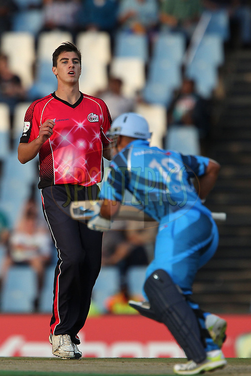 Pat Cummins of the Sydney Sixers reacts after bowling during the 2nd semi final of the Karbonn Smart CLT20 South Africa between The Sydney SIxers and the The Titans held at Supersport Park in Centurion, Gauteng on the 26th October 2012..Photo by Ron Gaunt/SPORTZPICS/CLT20.