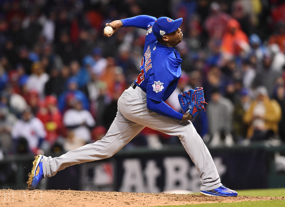 Oct 26, 2016; Cleveland, OH, USA; Chicago Cubs relief pitcher Aroldis Chapman throws a pitch against the Cleveland Indians in the 9th inning in game two of the 2016 World Series at Progressive Field. Mandatory Credit: Ken Blaze-USA TODAY Sports