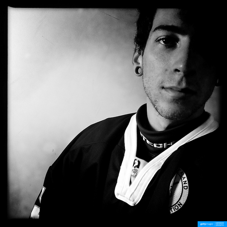 Ice Men Cometh… Andrew Gouldstone, 19, New Zealand..An iPhone portrait series on young men competing in the 2012 IIHF Ice Hockey World Championships Division 3. The tournament  was contested by countries New Zealand, Iceland, China, Bulgaria and Turkey at Dunedin Ice Stadium. Dunedin, Otago, New Zealand. 17th January 2012. Photo Tim Clayton