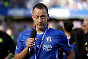 Chelsea Defender John Terry (26) gives an emotional speech after his final game for Chelsea FC during the Premier League match between Chelsea and Sunderland at Stamford Bridge, London, England on 21 May 2017. Photo by Andy Walter.