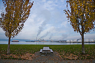 picnic table in city park looking at industry at Port of Tacoma in Commencement Bay