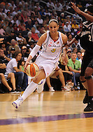 Aug 26, 2010; Phoenix, AZ, USA; Phoenix Mercury guard Diana Taurasi (3) drives the ball during the first half against the San Antonio Silver Stars in game one of the western conference semi-finals in the 2010 WNBA Playoffs at US Airways Center.  The Mercury defeated the Silver Stars 106-93.  Mandatory Credit: Jennifer Stewart-US PRESSWIRE