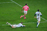 Waisea Nayacalevu Vuidravuwalu (Stade Francais) gonna scored a try, Remi Tales (Racing Metro 92), Louis Dupichot (Racing Metro 92) during the French championship Top 14 Rugby Union match between Stade Francais Paris and Racing Metro 92 on December 3, 2017 at Jean Bouin stadium in Paris, France - Photo Stephane Allaman / ProSportsImages / DPPI