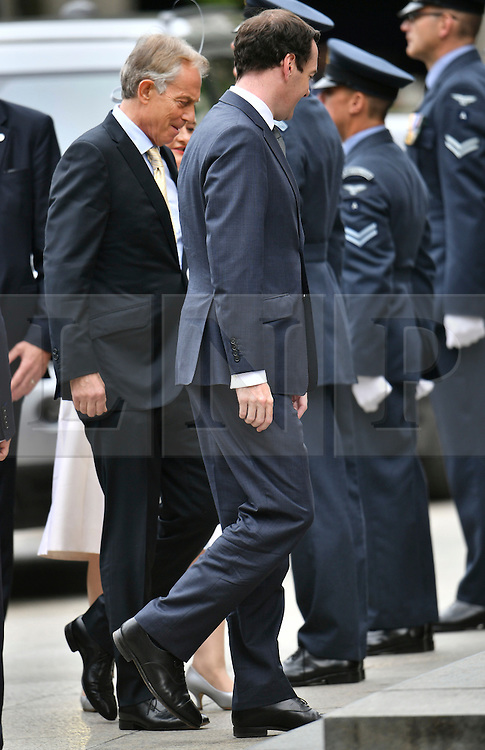 © Licensed to London News Pictures. 10/06/2016. London, UK. Former Prime Minister Tony Blair (L) and Chancellor of the Exchequer George Osborne, arrive at St Paul's Cathedral for a service of thanksgiving to mark the 90th birthday of Queen Elizabeth II. Photo credit: Ben Cawthra/LNP