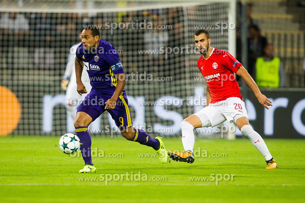 Loai Taha of Hapoel Beer-Sheva and Marcos Tavares of NK Maribor during football match between NK Maribor and Hapoel Beer-Sheva in Second leg of UEFA Champions League playoff round, on August 22 2017 in Ljudski vrt, Maribor, Slovenia. Photo by Ziga Zupan / Sportida