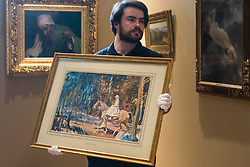 "Bonhams, Mayfair, London, February 26th 2016. A gallery technician displays ""Portrait of Mrs Abigail Prince"" by Sir Alfred Munnings estimated to fetch between £40-60,000 at the Bonhams 19th Century Art Sale in Mayfair, London on March 2nd 2016. ///FOR LICENCING CONTACT: paul@pauldaveycreative.co.uk TEL:+44 (0) 7966 016 296 or +44 (0) 20 8969 6875. ©2015 Paul R Davey. All rights reserved."