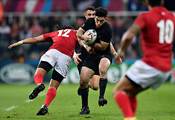 Nehe Milner-Skudder of New Zealand takes on the Tonga defence - Mandatory byline: Patrick Khachfe/JMP - 07966 386802 - 09/10/2015 - RUGBY UNION - St James' Park - Newcastle, England - New Zealand v Tonga - Rugby World Cup 2015 Pool C.
