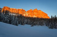 The last sunlight of the day shines on Mount Sublette high in the Absaroka Mountains. This peak is located directly on the continental divide which separates the drainage basins of the Pacific and the Atlantic Oceans. Togwotee Pass at nearly 10,000 feet is known for frequent sightings of grizzly bears. But by this time of year they had long since been in hibernation. The 4.5 feet of snow made it challenging to take pictures. The center column on my tripod broke after I tried pushing it all the way down into into the snow, which was an expensive mistake.