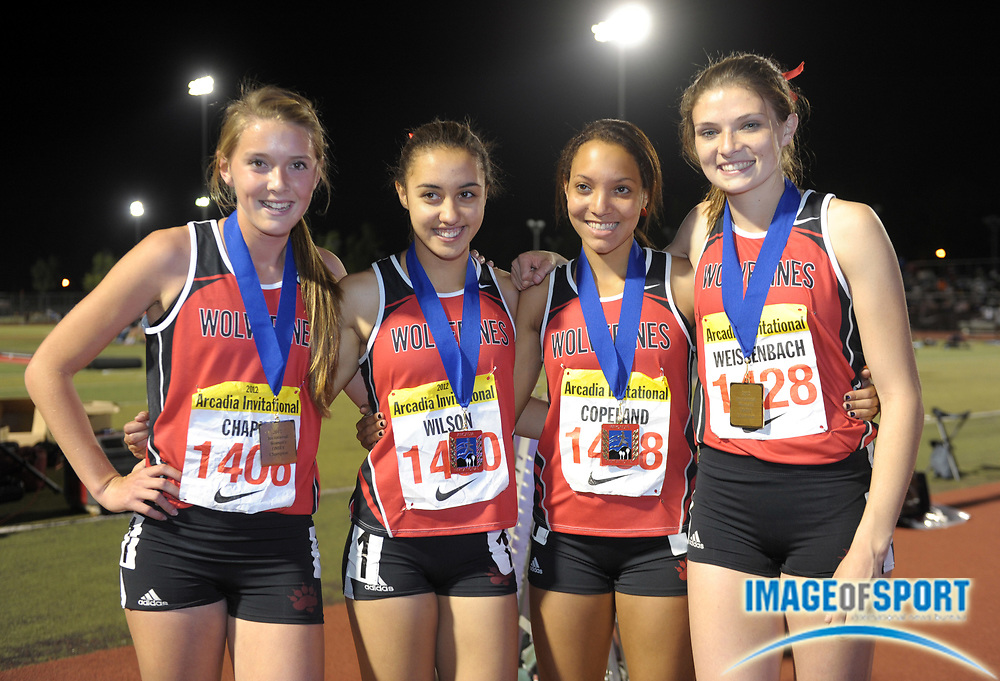 Apr 7, 2012; Arcadia, CA, USA; Members of the Harvard-Westlake girls distance medley relay pose after winning in 11:45.18 in the Arcadia Invitational at Arcadia High. From left: Cami Chapus and Elle Wilson and Shea Copeland and Amy Weissenbach.