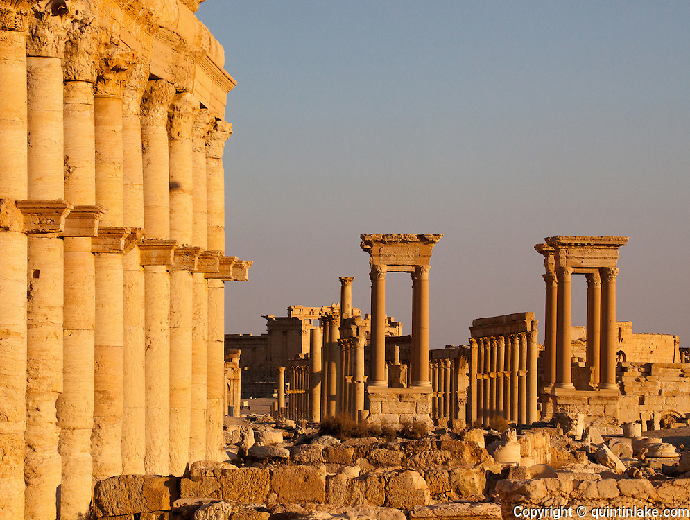 Great Colonnade & Tetrapylon, Palmyra, Syria. Ancient city in the desert that fell into disuse after the 16th century.