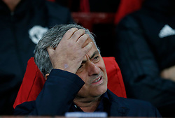 October 2, 2018 - Manchester, United Kingdom - Jose Mourinho manager of Manchester United showing the strain before the match during the UEFA Champions League Group H match at Old Trafford Stadium, Manchester. Picture date: 2nd September 2018. Picture credit should read: Andrew Yates/Sportimage(Credit Image: © Andrew Yates/CSM via ZUMA Wire)