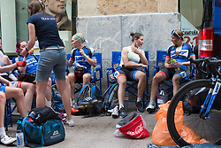 Team WNT riders discuss their experiences after finishing the Durango-Durango Emakumeen Saria - a 113 km road race, starting and finishing in Durango on May 16, 2017, in the Basque Country, Spain.
