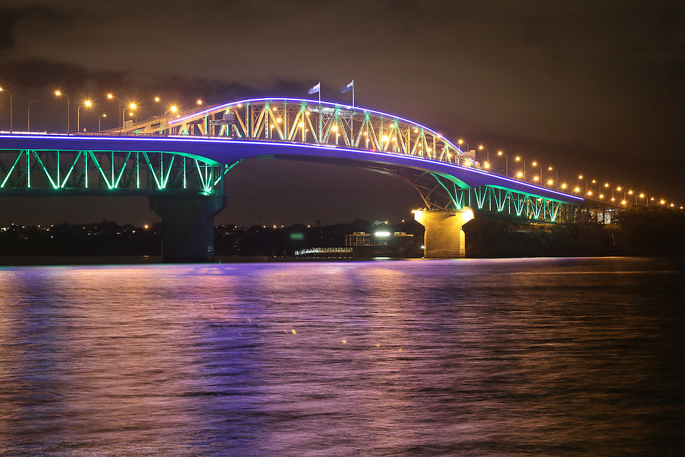 The Auckland Harbour Bridge dresses up in colour, Auckland, New Zealand, Friday, March 14, 2015. Credit:SNPA / Matt Hunt
