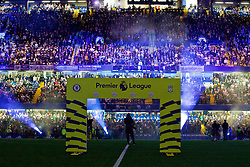 LONDON, ENGLAND - Friday, September 16, 2016: A light show before the FA Premier League match between Chelsea and Liverpool at Stamford Bridge. (Pic by David Rawcliffe/Propaganda)