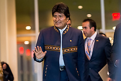 April 25, 2017 - New York, NY, United States - In conjunction with a United Nation General Assembly event convened to mark the 10th anniversary of the UN Declaration on the Rights of Indigenous Peoples, Bolivian President Evo Morales participated in a photo-op with principals from the UN Permanent Forum on Indigenous Issues. (Credit Image: © Albin Lohr-Jones/Pacific Press via ZUMA Wire)
