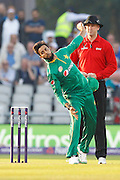 Imad Wasim opens the bowling for during the International T20 match between England and Pakistan at the Emirates, Old Trafford, Manchester, United Kingdom on 7 September 2016. Photo by Craig Galloway.