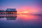 Warm and cool hues compliment each other perfectly on this soothing summer sunrise by the pier on Old Orchard Beach.
