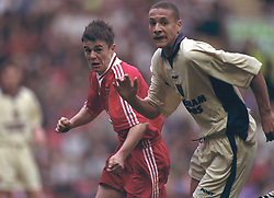 LIVERPOOL, ENGLAND - MAY 1996: Liverpool's David Thompson and West Ham United's Rio Ferdinand during the FA Youth Cup Final 2nd Leg at Anfield. (Pic by David Rawcliffe/Propaganda)