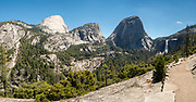 Liberty Cap and Nevada Fall on the John Muir Trail, Yosemite National Park, California.