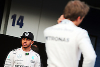 (L to R): Lewis Hamilton (GBR) Mercedes AMG F1 and team mate Nico Rosberg (GER) Mercedes AMG F1.<br /> Formula One Testing, Day One, Sunday 1st February 2015. Jerez, Spain.