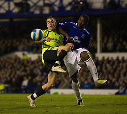 LIVERPOOL, ENGLAND - Thursday, April 17, 2008: Everton's Joseph Yobo and Chelsea's Joe Cole during the Premiership match at Goodison Park. (Photo by David Rawcliffe/Propaganda)