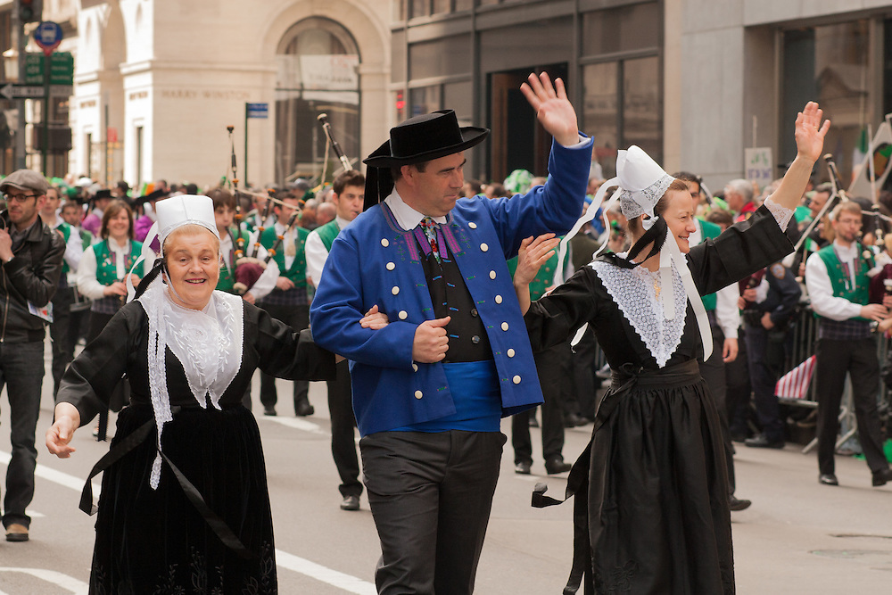 Celtic groups other than the Irish were represented, including these marchers from Bagad Plougastell, a traditional music and dance group from Brittany.
