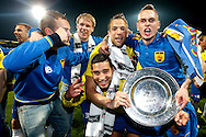 Onderwerp/Subject: Cambuur Leeuwarden - Jupiler League<br /> Reklame:  <br /> Club/Team/Country: <br /> Seizoen/Season: 2012/2013<br /> FOTO/PHOTO: F.L.T.R: Sicco BOUWER of Cambuur Leeuwarden and Marco VAN DER HEIDE of Cambuur Leeuwarden and Adnane TIGHADOUINI of Cambuur Leeuwarden and Tim BAKENS of Cambuur Leeuwarden and Tim KEURNTJES of Cambuur Leeuwarden celebrating Jupiler League Championship and promotion to Eredivisie with the Trophy. (Photo by PICS UNITED)<br /> <br /> Trefwoorden/Keywords: <br /> #02 $94 &plusmn;1367598354739<br /> Photo- &amp; Copyrights &copy; PICS UNITED <br /> P.O. Box 7164 - 5605 BE  EINDHOVEN (THE NETHERLANDS) <br /> Phone +31 (0)40 296 28 00 <br /> Fax +31 (0) 40 248 47 43 <br /> http://www.pics-united.com <br /> e-mail : sales@pics-united.com (If you would like to raise any issues regarding any aspects of products / service of PICS UNITED) or <br /> e-mail : sales@pics-united.com   <br /> <br /> ATTENTIE: <br /> Publicatie ook bij aanbieding door derden is slechts toegestaan na verkregen toestemming van Pics United. <br /> VOLLEDIGE NAAMSVERMELDING IS VERPLICHT! (&copy; PICS UNITED/Naam Fotograaf, zie veld 4 van de bestandsinfo 'credits') <br /> ATTENTION:  <br /> &copy; Pics United. Reproduction/publication of this photo by any parties is only permitted after authorisation is sought and obtained from  PICS UNITED- THE NETHERLANDS