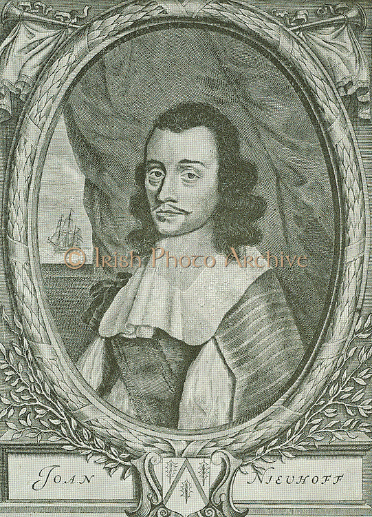 The Amsterdam poet Jan Vos described this famous traveller in the following words: Thus Nieuhoff is seen, who shows the religion, laws, costumes/and state of China by his learned pen.  A laudable work, deserving immortality.  He visited the Cape regularly and was murdered on a little island off Madagascar.