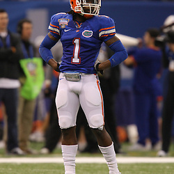 Jan 01, 2010; New Orleans, LA, USA; Florida Gators cornerback Janoris Jenkins (1) on the field during the 2010 Sugar Bowl at the Louisiana Superdome. Florida defeated Cincinnati 51-24.  Mandatory Credit: Derick E. Hingle-US PRESSWIRE.
